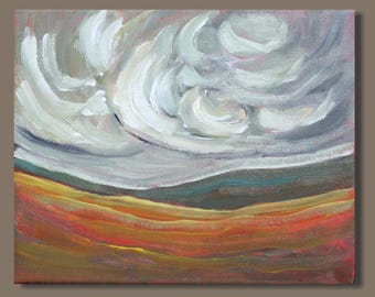 semi abstract painting, cloud painting, small painting, landscape painting, gestural painting, prairie foothills Alberta, gift