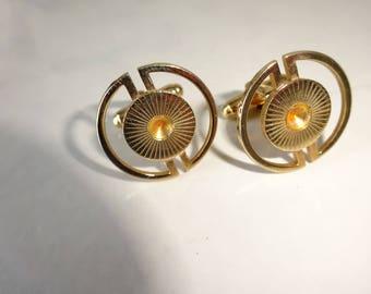 Vintage Cuff Links Round Gold Sunburst Cufflinks