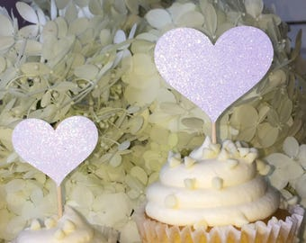 12 White Heart Cupcake Toppers Cake Toppers Wedding Decorations
