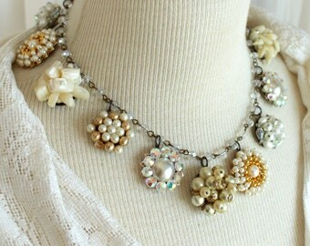 Cream and Linen Halo Assemblage necklace vintage clip on earrings antique jewelry stunning statement wedding bridal  warm colors rosary