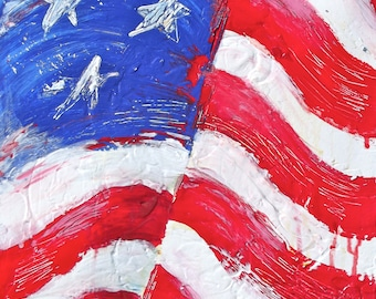 American Flag  Painting, American Abstract Art, Print on Canvas, Patriotic Home Decor, Red White and Blue, Americana Home Decor
