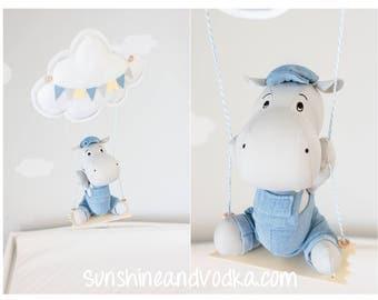 Swinging Hippo Baby Mobile, Boy's Nursery Decor, Adventure Theme Nursery, Hippo Mobile, i247