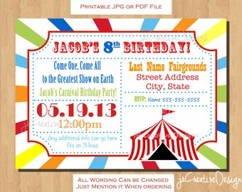 circus invitation Carnival invitation carnival birthday invitation circus birthday invitation carnival ticket invitation birthday party kids
