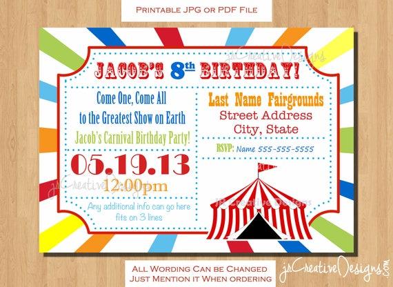 Circus invitation carnival invitation carnival birthday invitation il570xn stopboris Image collections