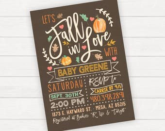 Fall Baby Shower invitation Fall In Love Rustic Baby Shower Pumpkin Baby Shower Fall Invitation Baby Boy Baby Girl Little Pumpkin Fall Baby