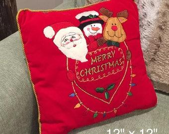 "Ugly Christmas Pillow Santa Reindeer Snowman Merry Christmas Red 12"" X 12"""