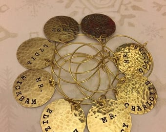ON SALE PRIDE & Prejudice Wine Charms, 8 pc Set in Brass, Jane Austen, Mr Darcy, Elizabeth, Austen Society, Hostess Gift, Birthday, Thank Yo