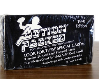 1991 Action Packed Football Cards 24K Gold Stamped Cards Sealed Box