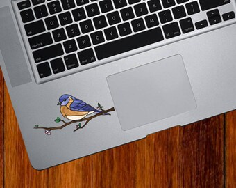 """CLR:TP - Eastern Bluebird - Bird - Stained Glass Style Vinyl Trackpad Decal (Opaque) ©YYDC (3.5""""w x 1.75""""h)"""
