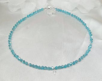 Light Blue Necklace Aquamarine Necklace Cross Necklace Blue Crystal Necklace Adjustable Necklace Sterling Silver Necklace BuyAny3+Get1 Free
