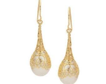 14kt Yellow Gold Earrings White Pearl Earrings 14k Gold Filagree Earrings Solid 14k Gold Earrings Dangle Earrings Christmas BuyAny3+1Free