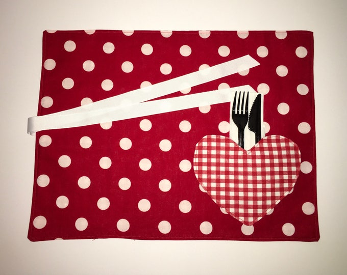 Heart Pocket Placemat for Tailgating Lunchmat Travel placemat Pocket Placemat linens Toddler Placemat