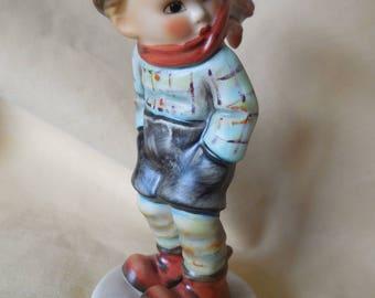 Goebel March Winds Figurine Sweet Little Boy in Scarf & Hat
