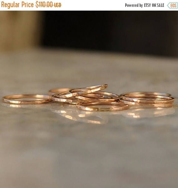 ON SALE Stack Rings - Thin Stacking Rings - Rose Gold Stacking Ring Set - Stacked Ring Set