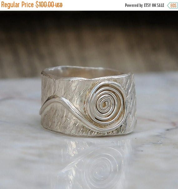 ON SALE Sterling Silver Boho Ring – Hammered Bohemian Wide Band for Men or Women