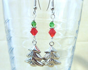 Christmas Tree Bell Earrings, Silver Christmas Tree Bell Charm Red & Green Crystal Dangle Earrings, Handmade Jewelry Holiday Jingle Bells