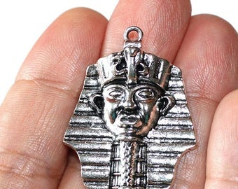 15% OFF - 2 Egyptian Pharaoh Charms Antique Silver Tone  CH336
