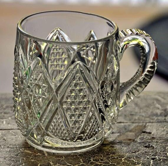Antique Ca 1898 ADVERTISING Mug 'Minnesota' Pattern Glass 'Lansburg & Co, Washington D. C.' No Chips or Cracks Excellent Condition
