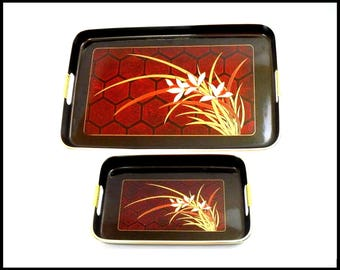 Set of 2 Japanese Black Lacquer Trays, Vintage Trays, Black Tray, Red Tray, Asian Trays, Serving Tray, Entertaining, Gift For Her