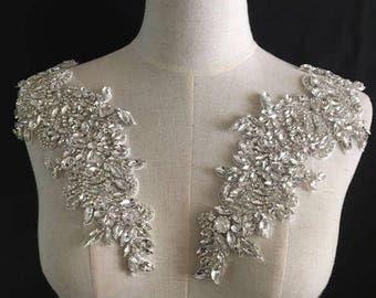 Lace Trim Fabric Rhinestone Applique Collar Flower By Lacetime