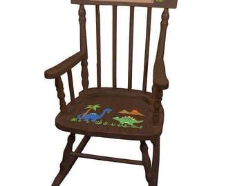 Personalized Dinosaurs Espresso Childrens Rocking Chair Jurassic Park World T-Rex Bronto Theme Décor Green Boys Boy spin-esp-217