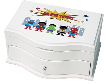 Personalized Deluxe Musical Jewelry Box with African American Super Hero Design-jewef-227c