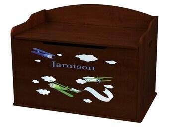 Personalized Airplane Espresso Toy Box Bench