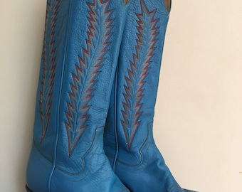 Vintage Panhandle Slim Cowboy Boots / Panhandle Slim / Cowgirl Boots / Vintage Cowgirl Boots / Blue Suede Shoes / Blue Leather / Blue Shoes