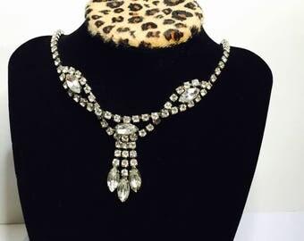 Rhinestones Lavalier Choker/Necklace, Vintage Wedding, Clear, Rhinestones, Silver Tone, Large Oval Cut, Item No. B425