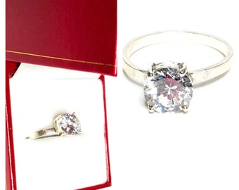 Statement Ring Size 7.5, Vintage Solitaire, Clear Cz, Round Stone, Clearance SALE, Item No. S369