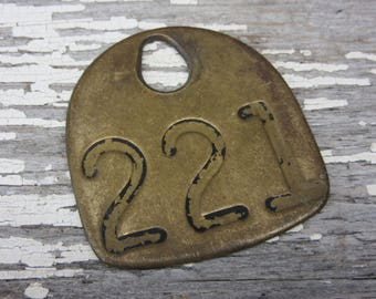Number 221 Tag Antique Cattle Tag #221 Large Vintage Brass Tag Cow Tag Industrial Tag House Number Apartment Lucky Numbers Keychain Tag A