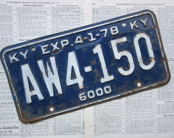 Vintage License Plate Kentucky 1978 KY Blue & White Heavily Distressed Metal Rusted Aged Patina Tag Man Cave Rat Rod Car Truck Antique