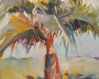 Original Oil Painting Palm tree Impressionist Style 12x18cm by x.thomas