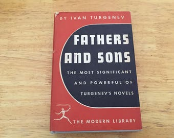 Fathers and Sons by Ivan Turgenev   Modern Library 21   1950s Vintage   Hardcover   Russian Literature