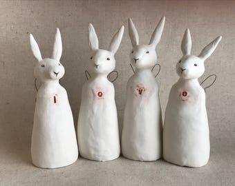 love sculpture - four rabbit set - white ceramic
