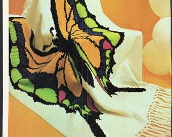 Butterfly Crochet Afghan, Blanket, Quilt, Bedspread, PDF Pattern,  Instant Download Tunisian Stitch
