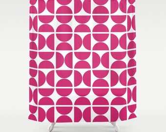 36 colours, Circles Pattern Shower Curtain, Scandinavian style, Raspberry Sorbet, Pink geometric decor, Nordic, abstract bathroom decor