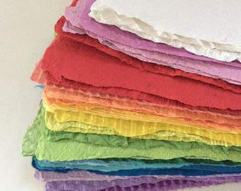 """Paper Pack - Recycled Paper - Homemade paper - Rainbow colors - textured -  32 sheets - deckle edges - 5 1/2"""" X 8 1/2"""" - handmade recycled"""