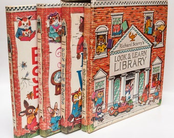 "Childrens Book Gift: ""Richard Scarry's Look & Learn Library"" 4 hardcover box set 
