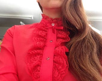1970's Vibrant Red 'Rhapsody' Blouse with Lace Trimmed Flounce