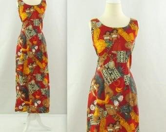 SALE Tiki Wiggle Dress - Vintage 1980s Hawaiian Summer Dress by Hilo Hattie - Medium