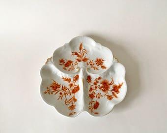 Vintage Haviland Limoges Clover Leaf Divided Tray, Orange Floral Motif with Gold