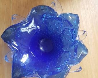 Hand blown blue dish/bowl