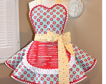 MamaMadison Vintage Inspired Woman's Retro Apron + Kitchen Apron + Baking Apron + Recipe Apron + Flower Apron