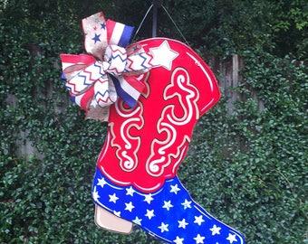 Cowboy Boot Door Hanger, Patriotic Door Hanger, Western Decor, Country Home Decor, Cowboy Boots, Patriotic Summer Door Hanger