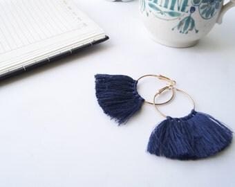 Gold Hoop Tassel Earrings - Tassel Earring - Navy Tassel Earrings - Tassel Hoops Navy