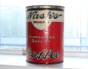 Vintage 1920s Nash's Coffee Tin Large 3 Lb. Rustic Farmhouse Decor