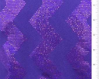 Purple Zig Zag Hologram Activewear, Fabric By The Yard