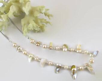 Peach Pearl Necklace - N196