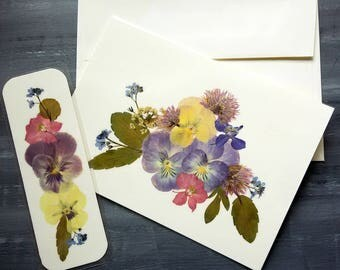 PRESSED FLOWER Card and Bookmark Set - Colorful Preserved Flowers, Garden Art, Handmade Blank Stationary Greeting Card, Birthday, Friendship